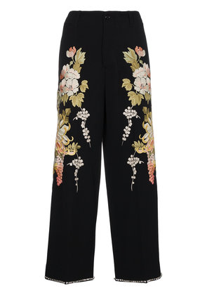 Gucci Floral Embroidered Flared Trousers - Black