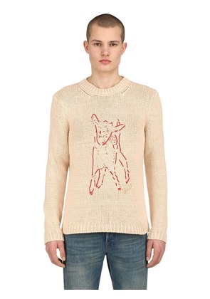 EMBROIDERED INTARSIA COTTON KNIT SWEATER