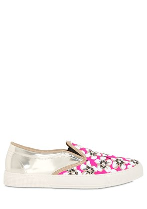 FLORAL PRINTED CANVAS & LEATHER SNEAKERS