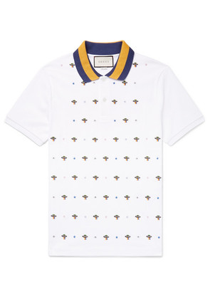 Slim-fit Ufo-embroidered Stretch-cotton Piqué Polo Shirt