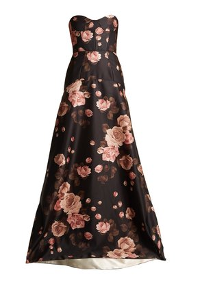 Rose-print bustier satin gown