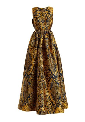 Shaw sleeveless Cards-jacquard gown