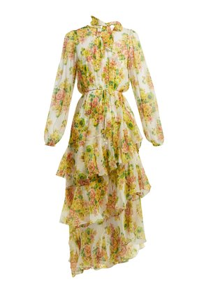 Golden floral-print silk dress