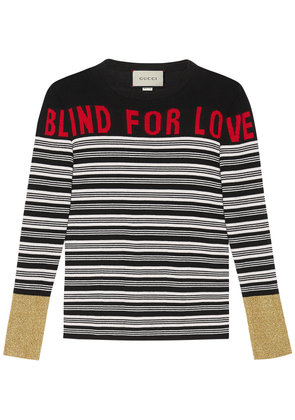 Gucci Blind for Love striped knit top - Black