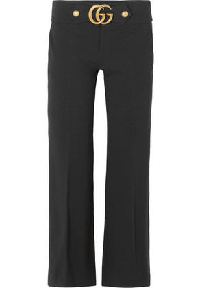 Gucci - Embellished Crepe Flared Pants - Black