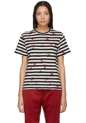 Proenza Schouler Black and Off-white Striped Tissue T-shirt