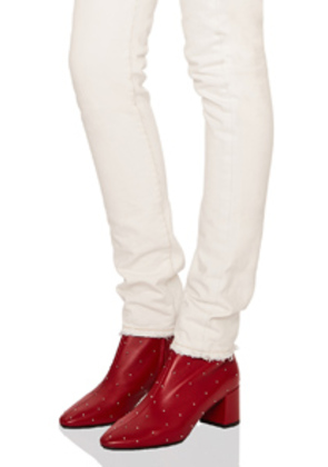 Saint Laurent Loulou Crystal Studded Leather Ankle Boots in Red