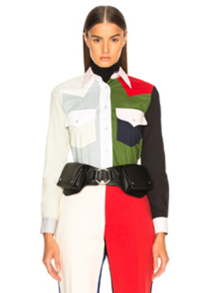CALVIN KLEIN 205W39NYC Colorblocked Shirt in Green,Red,White