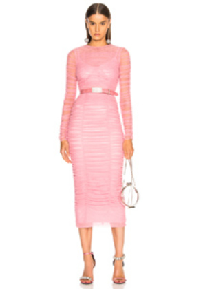 Dolce & Gabbana Ruched Long Sleeve Dress in Pink