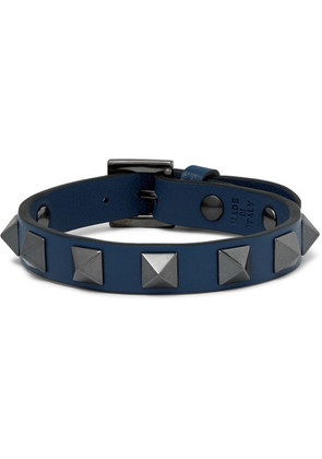 Valentino Garavani Rockstud Leather And Ruthenium Bracelet
