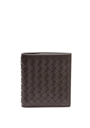 Intrecciato bi-fold leather wallet