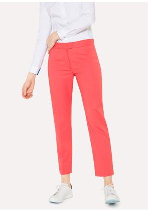 Women's Slim-Fit Coral Wool-Hopsack Trousers