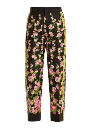 Rose-print cropped wool-blend cady trousers