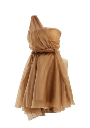 Dominique one-shoulder silk dress