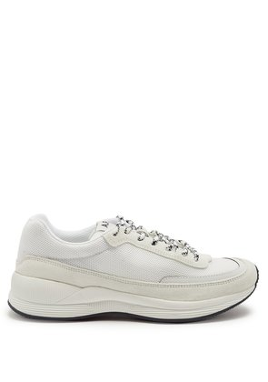 Running suede-panel mesh trainers