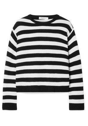 Valentino - Wrap-effect Bow-embellished Striped Cashmere Sweater - Black