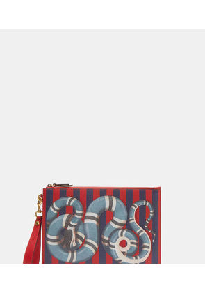 GUCCI BLUE SNAKE STIPIES POUCH