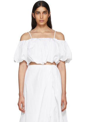 3.1 Phillip Lim White Poplin Off-the-shoulder Blouse