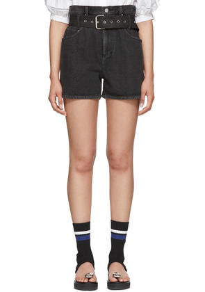 3.1 Phillip Lim Black Denim Belted Paper Bag Shorts