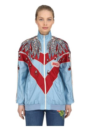 CRYSTALS EMBELLISHED NYLON TRACK JACKET