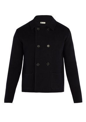 Double-breasted knitted blazer