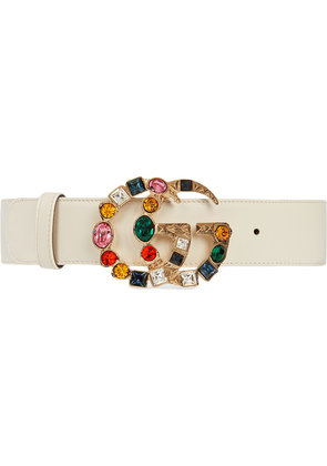 Gucci Leather belt with crystal Double G buckle - White