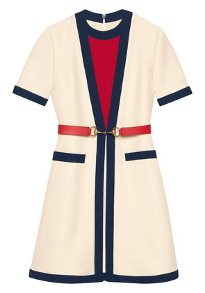 Gucci Belted wool silk dress - White