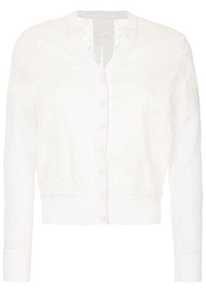Onefifteen embroidered fitted cardigan - White
