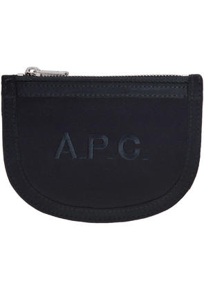 A.p.c. Navy Satin Half Moon Wallet
