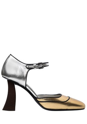 90MM METALLIC LEATHER MARY JANE PUMPS