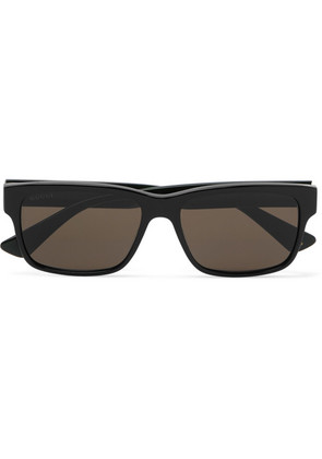 Square-frame Striped Acetate Sunglasses