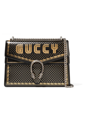 Gucci - Dionysus Printed Textured-leather Shoulder Bag - Black
