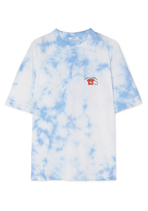 GANNI - Ginsbourg Verbena Embroidered Tie-dyed Cotton-jersey T-shirt - Light blue