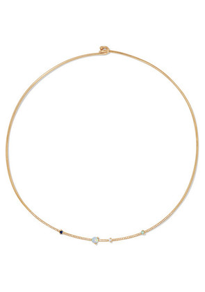Wwake - Linear 14-karat Gold Diamond, Opal And Sapphire Choker - one size