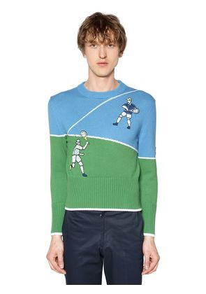 COTTON KNIT SWEATER W/ TENNIS EMBROIDERY