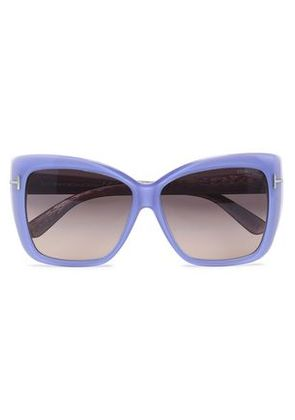 Tom Ford Woman Cat-eye Acetate And Silver-tone Sunglasses Crimson Size Tom Ford LNWHU