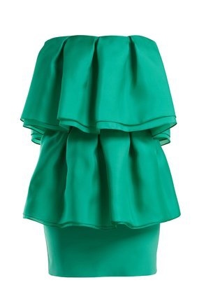Volant silk-voile strapless dress