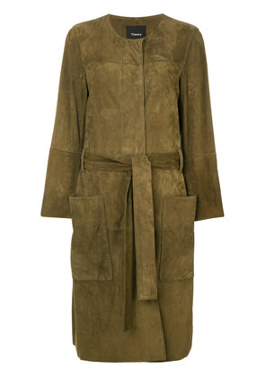 Theory belted large pocketed coat - Green