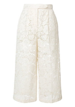 Valentino sheer lace cropped trousers - Nude & Neutrals