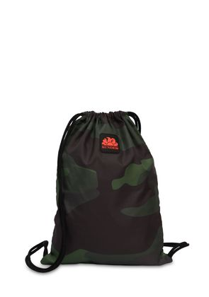 CAMO LOGO PATCH DRAWSTRING BACKPACK