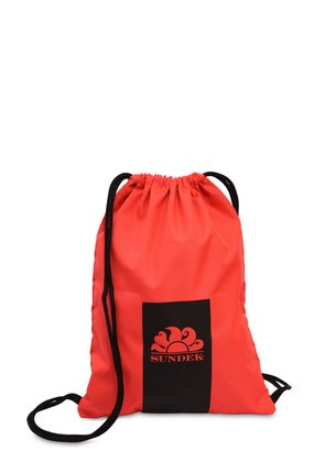 LOGO PRINTED CANVAS DRAWSTRING BACKPACK