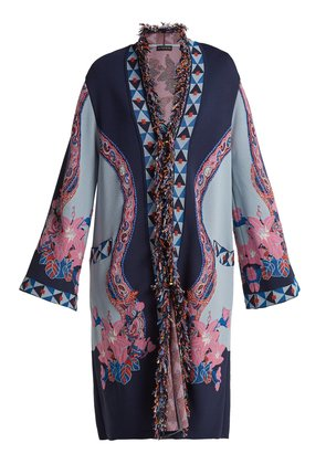 Fringed floral jacquard-knit cardigan
