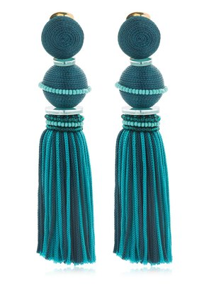 TWO TONE BALL TASSEL EARRINGS