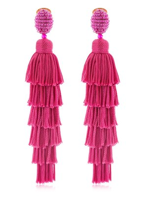 LONG SILK TIERED TASSEL EARRINGS