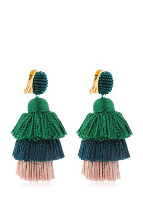 SILK TIERED TASSEL CLIP-ON EARRINGS