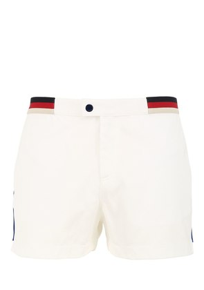 JERSEY SWIM SHORTS W/ WEB PIPING DETAILS