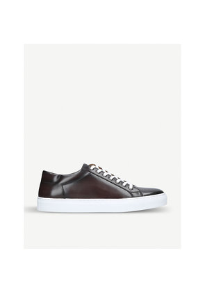 Lace-up burnished-leather trainers