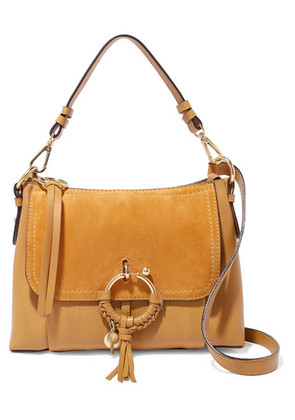 See By Chloé - Joan Small Suede-paneled Textured-leather Shoulder Bag - Saffron