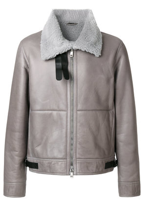 Jil Sander fur lined leather coat - Grey