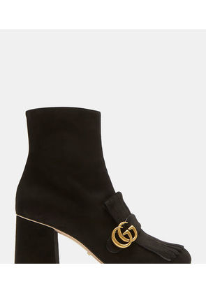 GG Fringed Suede Marmont Ankle Boots